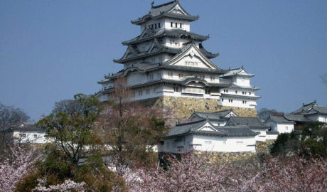 Himeji Castle with Cherry Blossoms in Japan, Photo by Miya M, color correction by Gorgo, Level-Adjusted by Quasipalm